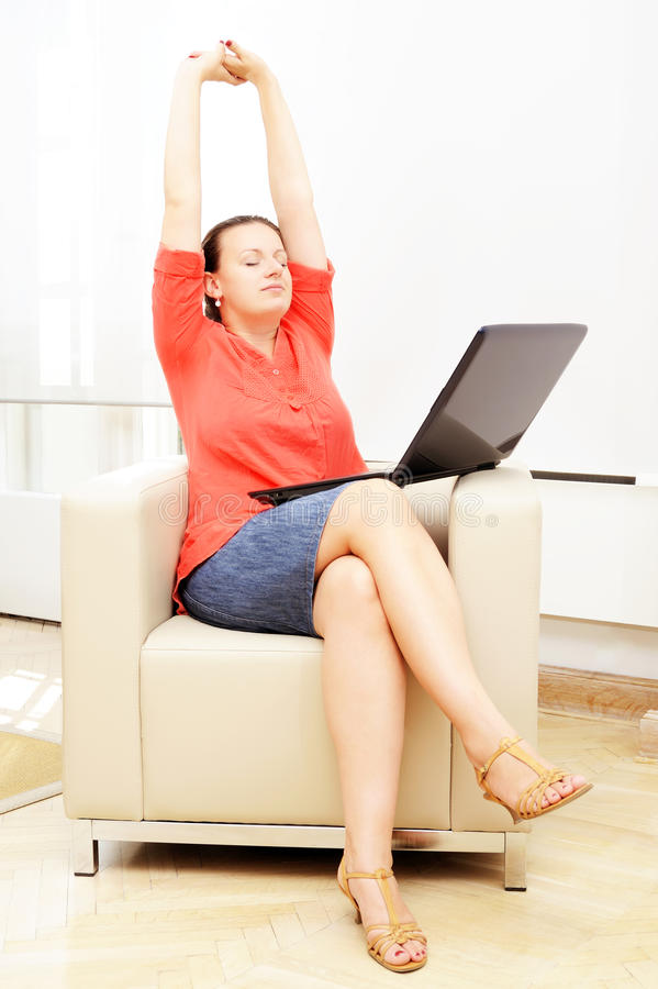 Businesswoman Relaxing In Her Office Royalty Free Stock Photos