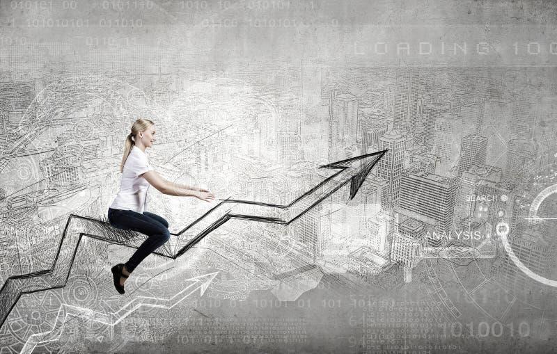Businesswoman ride graph. Concept of anti crisis with businesswoman that tames statistics diagram stock photos