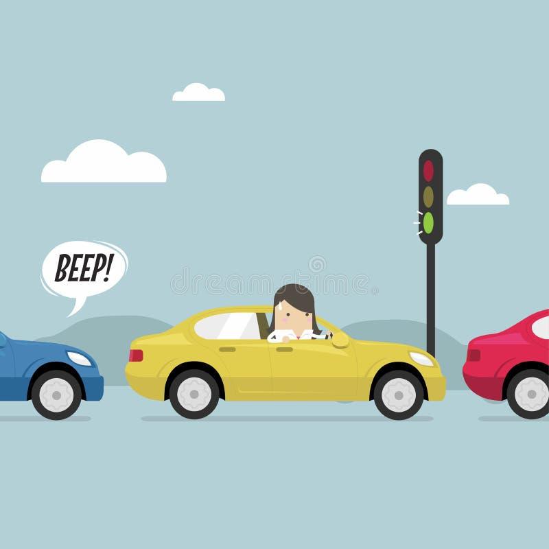 Businesswoman on the road with traffic jam, Green traffic light, honk a horn. Vector illustration stock illustration