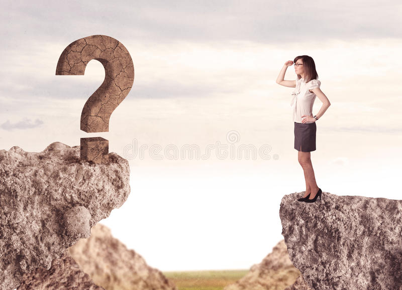 Businesswoman on rock mountain with a question mark. Businesswoman standing on the edge of mountain with a rock question mark on the other side stock images