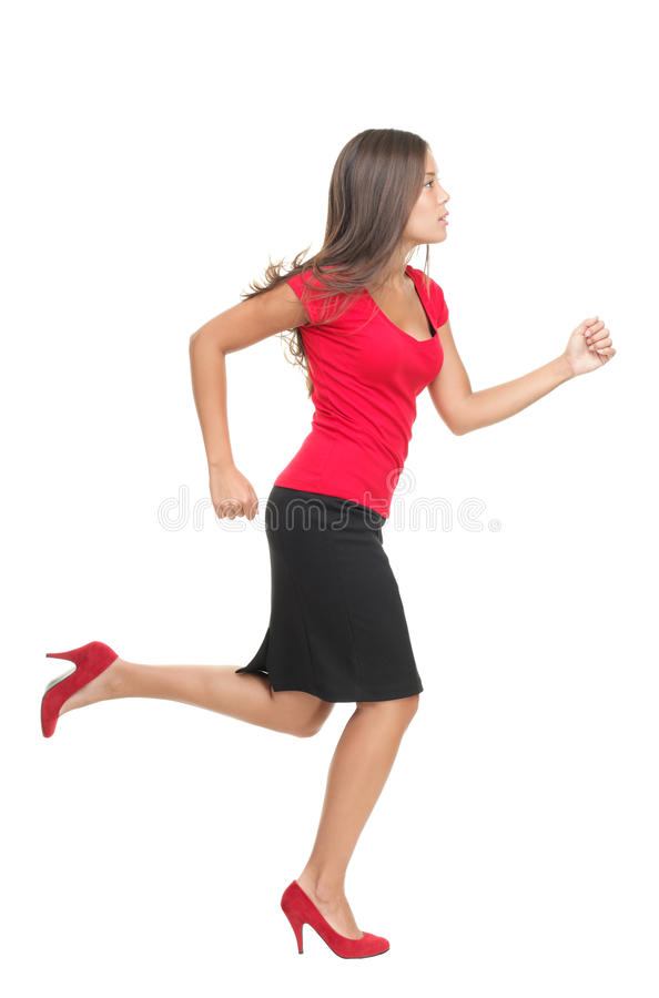 Businesswoman running royalty free stock photography