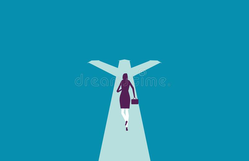 Businesswoman running and choice directions. Vector illustration stock illustration
