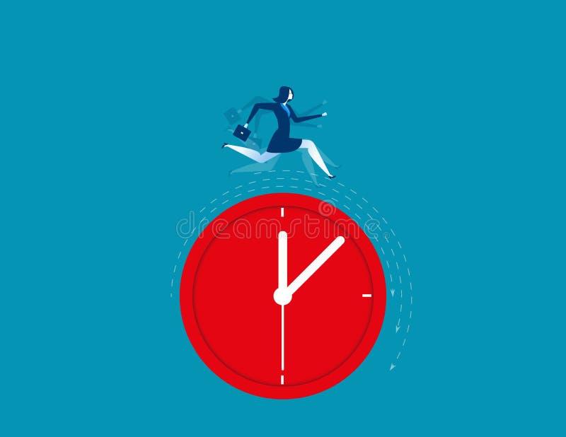 Businesswoman running on clock representing deadline. Concept business illustration vector illustration
