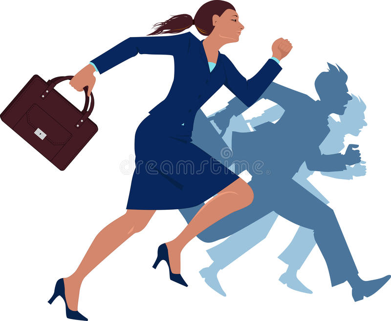 Businesswoman running competing with men stock illustration