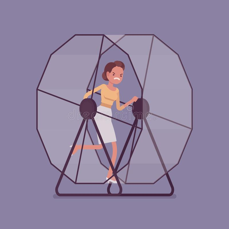 Businesswoman running in a mouse wheel. Frustrated businesswoman in a hamster wheel, running faster in the same direction, without meaning and purpose, workaday royalty free illustration