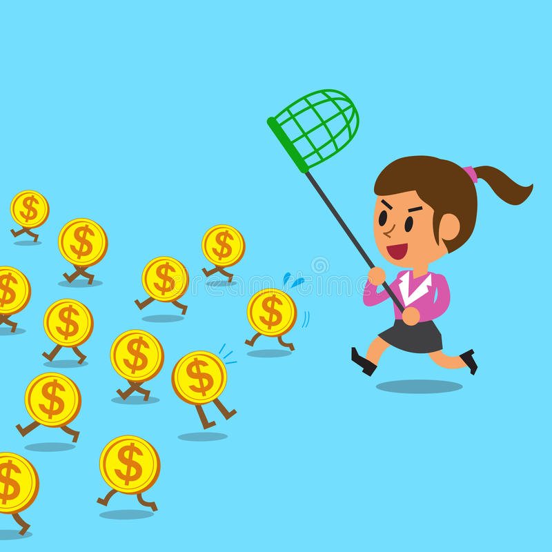 Businesswoman running to catch money coins. For design vector illustration