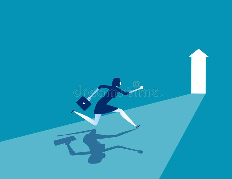 Businesswoman running to goal, Concept business vector illustration, Flat business cartoon, Character style design, Running, Rear. View vector illustration