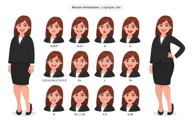 Businesswoman`s lip sync, animated phonemes collection for animation. Set of various mouth animation for female cartoon character. Illustration. Woman`s lips royalty free illustration