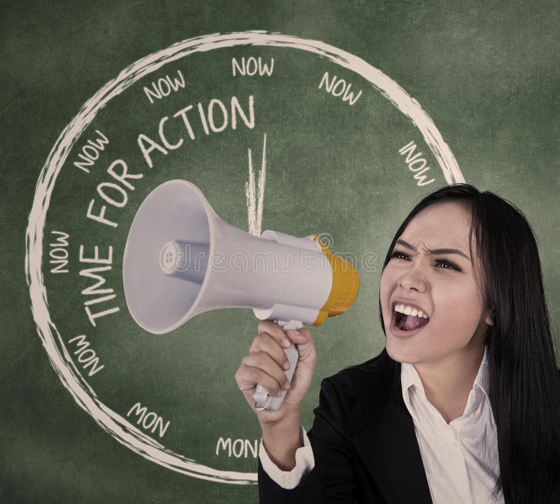 Download Businesswoman Scream Using Speaker Stock Photo - Image: 28538732