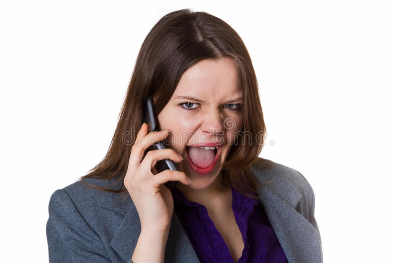 Download Businesswoman Screaming Into The Phone Stock Photo - Image: 25862832