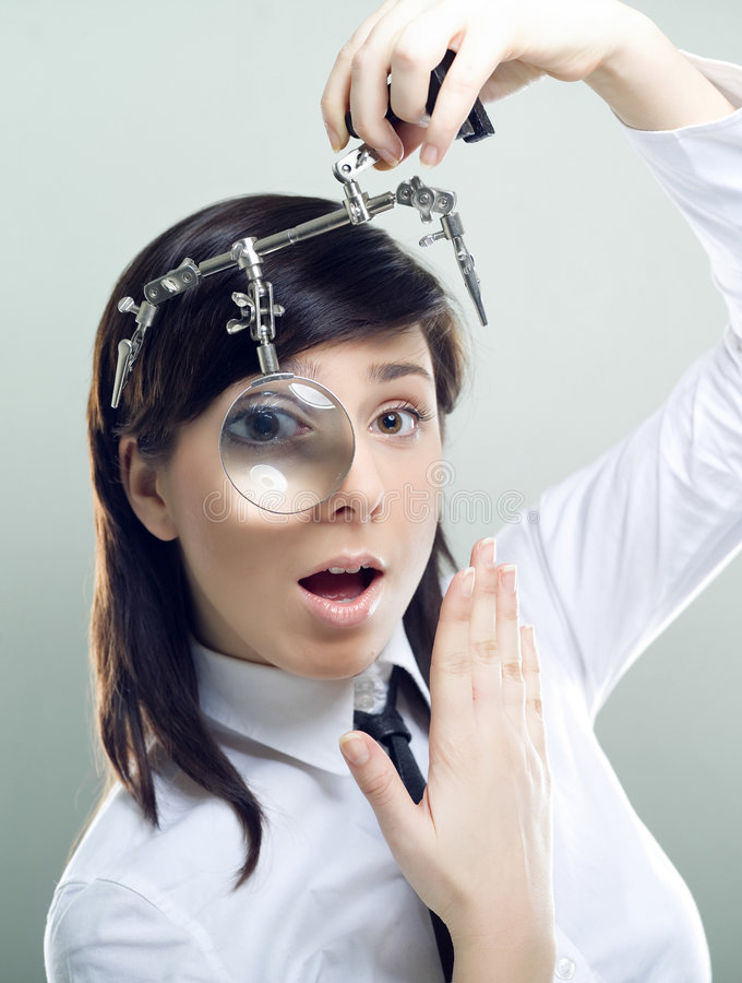 Businesswoman searching stock images