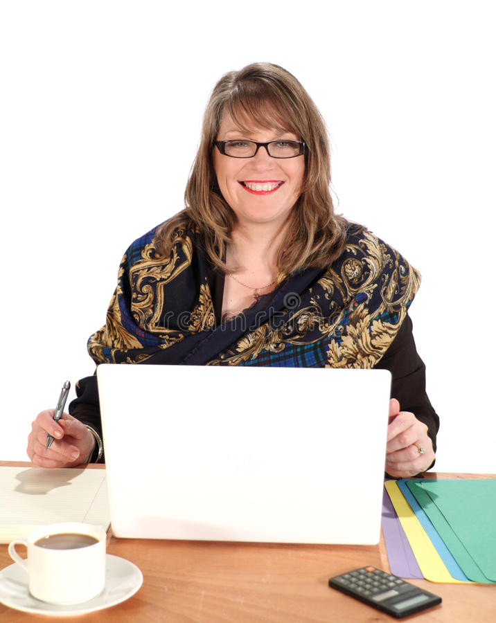 Businesswoman Seated With Laptop royalty free stock photography
