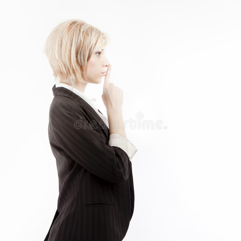 Businesswoman with secret royalty free stock photography