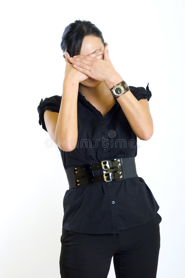 Businesswoman in the See No Evil pose stock photo