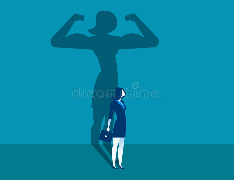 Businesswoman with a shadow and career strength. Concept business illustration. Vector character and abstract. stock photo