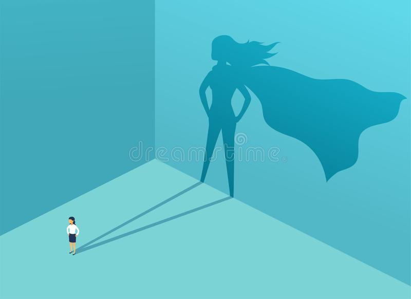 Businesswoman with shadow superhero. Super manager leader in business. Concept of success, quality of leadership stock illustration