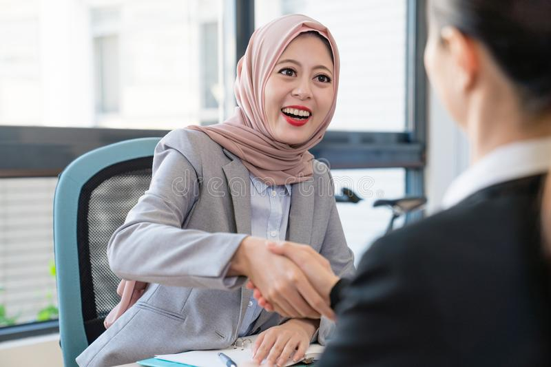 Businesswoman shaking hands. royalty free stock photography