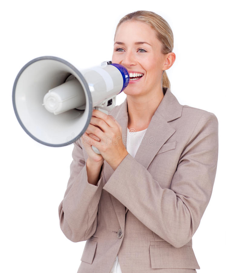 Download Businesswoman Shouting Through A Megaphone Stock Photo - Image: 12230004