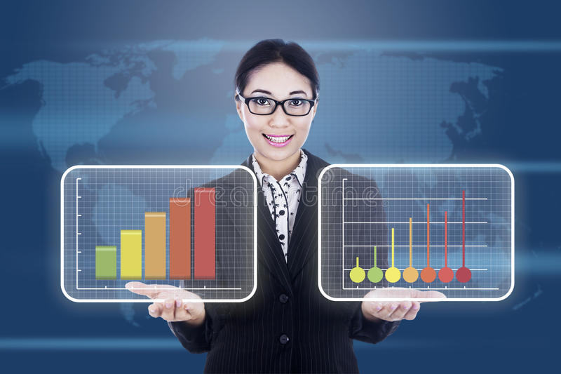 Download Businesswoman Showing Business Diagram Stock Illustration - Image: 27812686