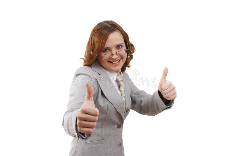 Businesswoman showing thumbs up. OK stock photos