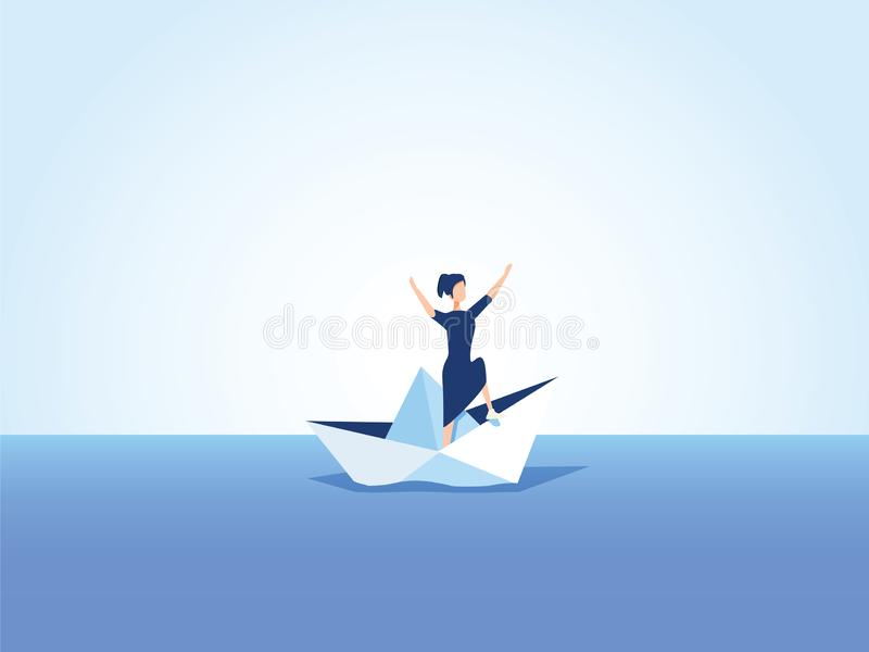 Businesswoman on a sinking ship, paper boat. Symbol of bankruptcy, failure but also new beginning, overcoming challenge. Eps10 vector illustration. Business vector illustration