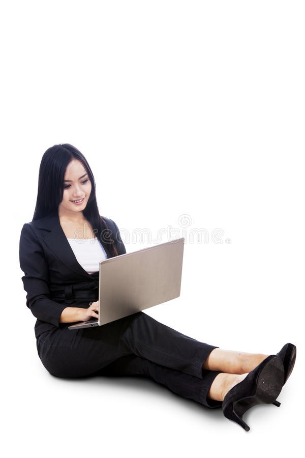Download Businesswoman Sit With Laptop Isolated Stock Photo - Image: 28623850