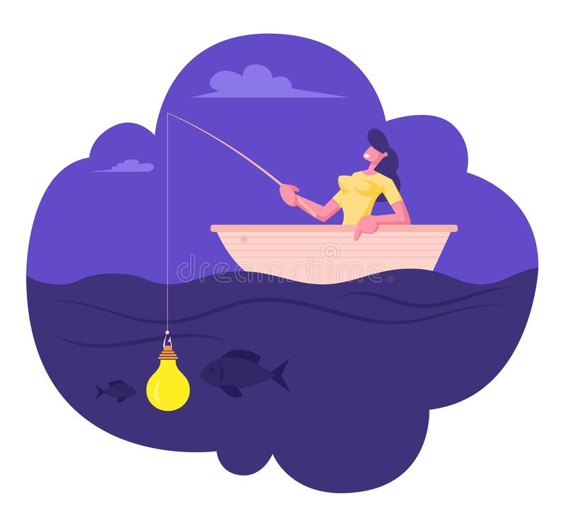 Businesswoman Sitting in Boat with Fishing Rod Catching Fish on Glowing Light Bulb Bait. Business Woman Having Lightbulb. Instead of Lure Hanging on Hook vector illustration