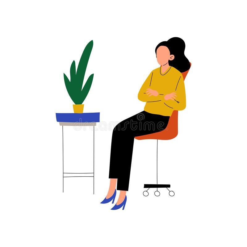 Businesswoman Sitting in Chair with Folded Hands, Professional Young Woman Working in Office Vector Illustration royalty free illustration