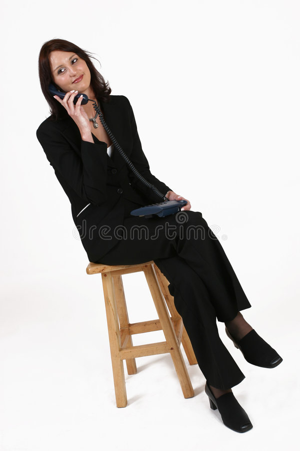 Download Businesswoman Sitting On Chair And Listening To Caller Stock Image - Image of glomour, talking: 227361