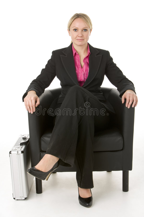 Download Businesswoman Sitting In Leather Chair Stock Image - Image: 6879711