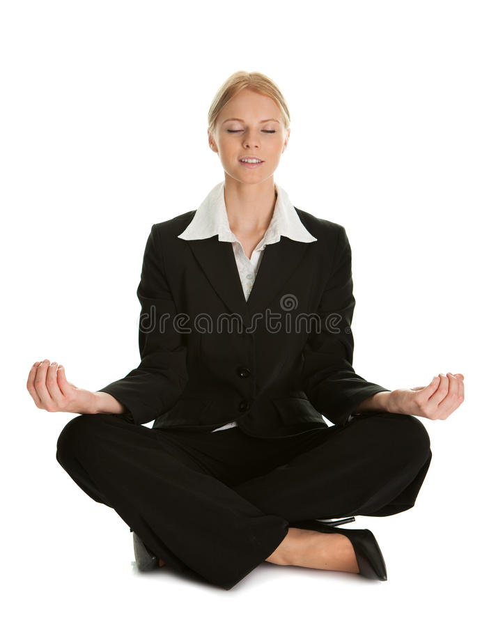 Download Businesswoman Sitting In Lotus Flower Position Stock Image - Image: 18207047