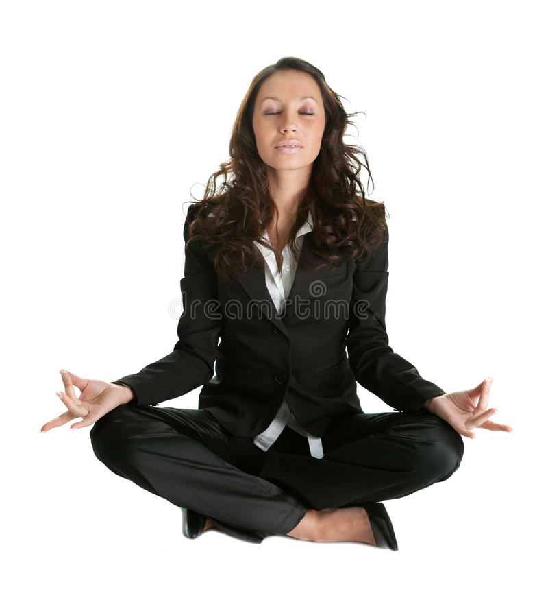 Download Businesswoman Sitting In Lotus Flower Position Stock Photo - Image of female, peace: 18508016