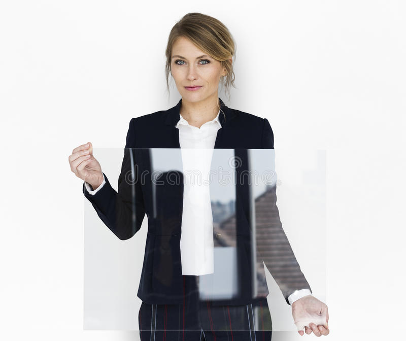 Businesswoman Smiling Happiness Holding Clear Placard Copy Space stock images
