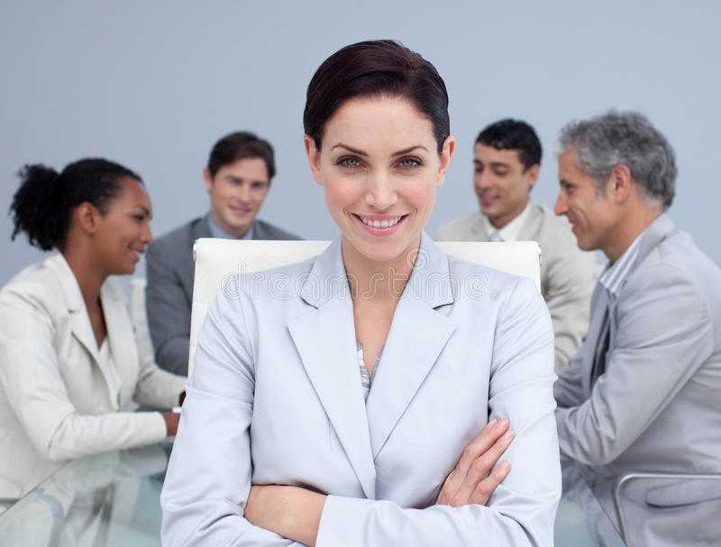 Download Businesswoman Smiling In A Meeting Stock Photo - Image: 11900516