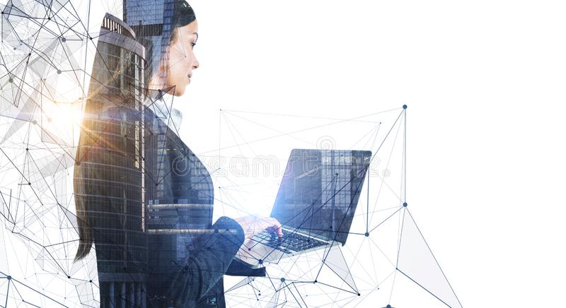 Businesswoman with social network stock photo