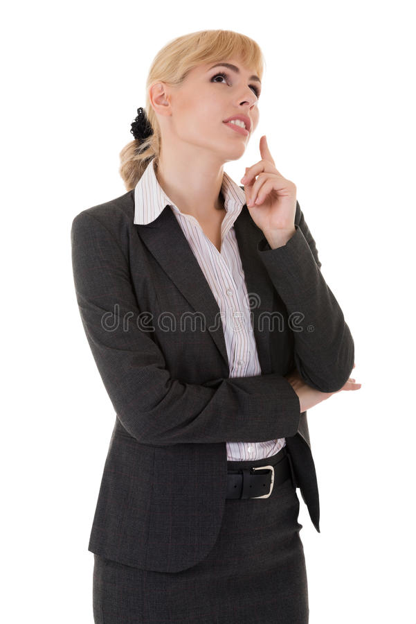 Businesswoman in solution searching royalty free stock photography