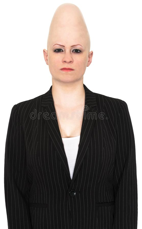 Conehead Business, Sales, Marketing, Isolated. A businesswoman with a space alien conehead has a stern, mean angry look. The business woman can be used for sales stock images