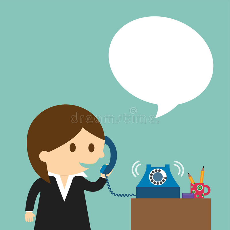 Businesswoman speaking into a telephone vector illustration