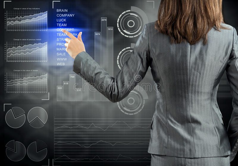 Businesswoman standing with back and pressing icon on media screen. Rear view of businesswoman working with virtual panel interface stock image