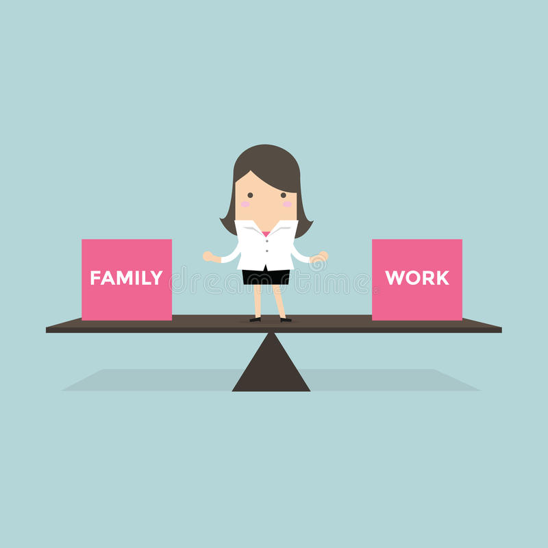 Businesswoman standing balance life with family and work vector illustration
