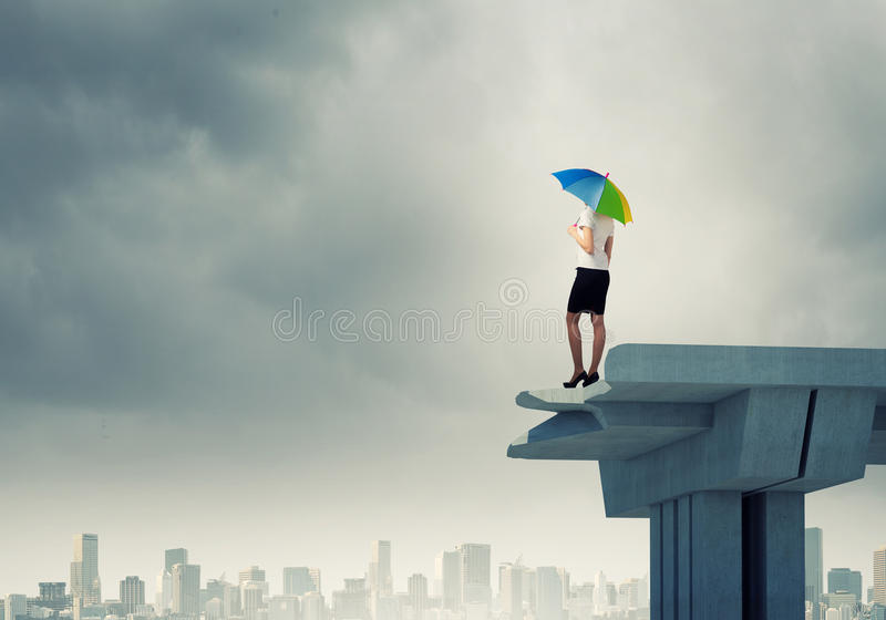 Businesswoman Standing On Bridge Stock Image