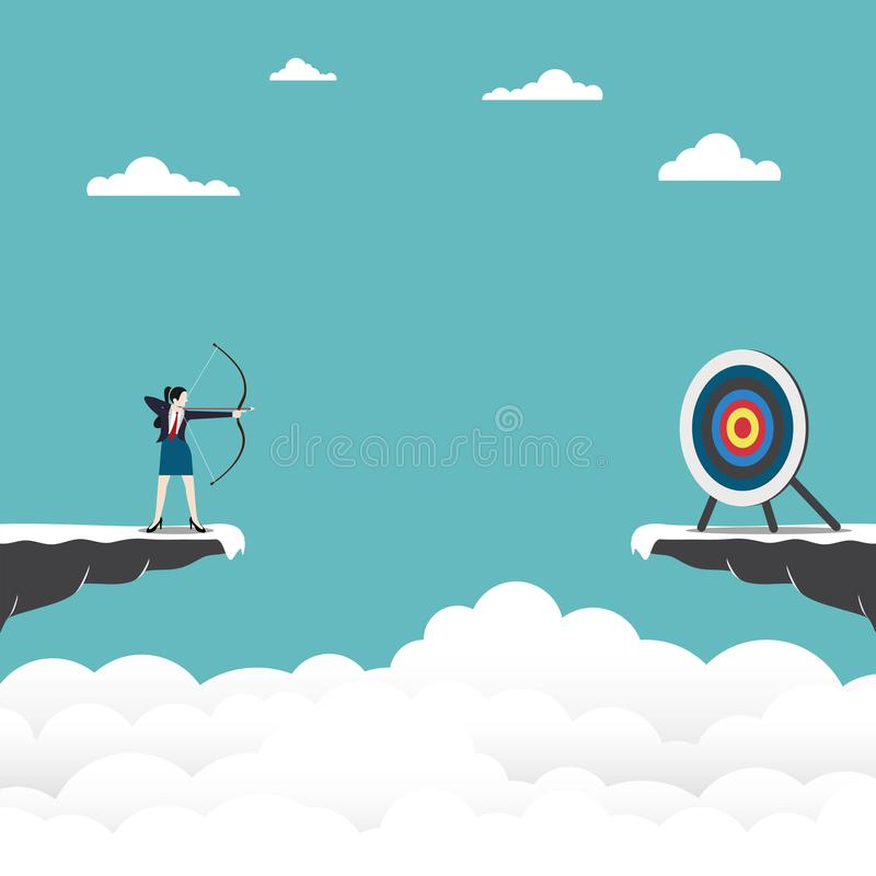 Businesswoman standing on cliff with archer in hand royalty free illustration