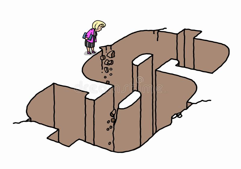 Download Businesswoman Standing By Dollar Shape Hole Stock Illustration - Image: 31518238