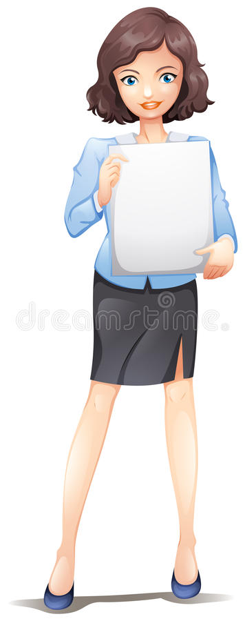 A businesswoman standing with an empty signboard. Illustration of a businesswoman standing with an empty signboard on a white background royalty free illustration