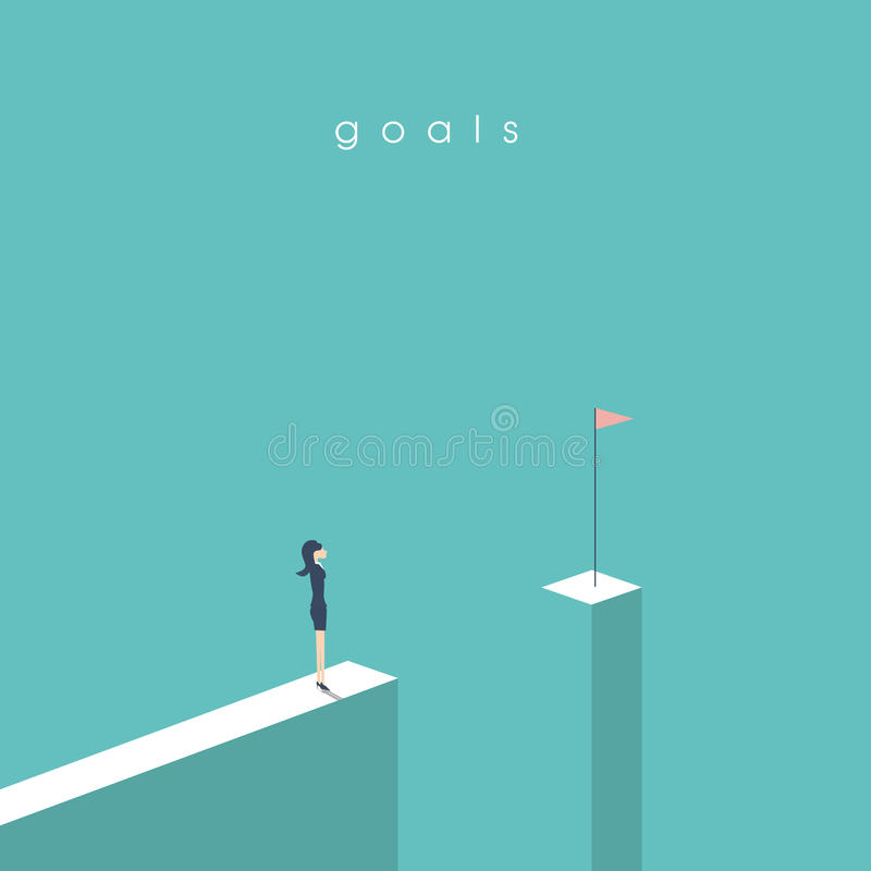 Businesswoman standing in front of gap looking at flag. Business concept of goals, success, achievement and challenge. Eps10 vector illustration royalty free illustration