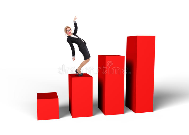 Businesswoman standing on graph royalty free illustration