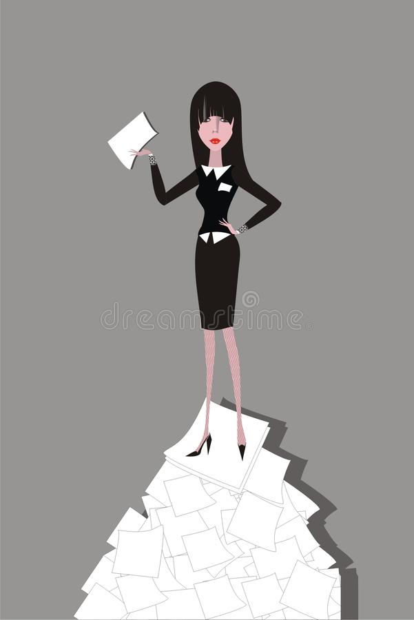 Download Businesswoman Standing On The Heap Of Paper Stock Vector - Image: 11186193