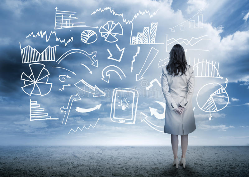 Businesswoman standing looking at data flowchart. In cloudy landscape royalty free illustration