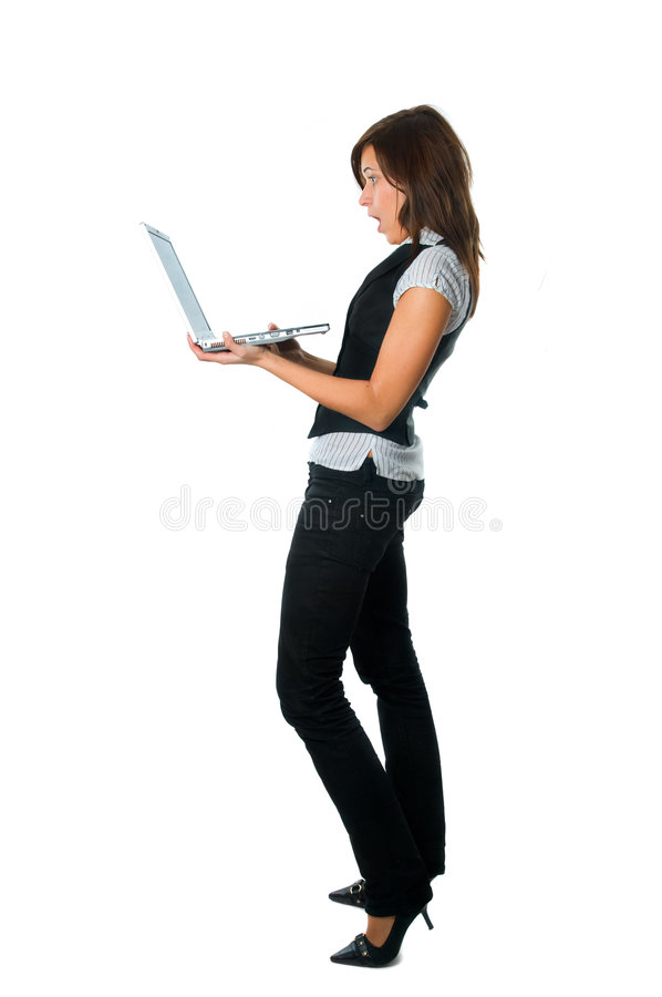 Download Businesswoman Standing Surprised With Laptop Stock Image - Image: 8081545