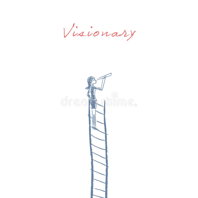 Businesswoman standing on top of corporate ladder vector illustration as a symbol of business career, visionary stock illustration
